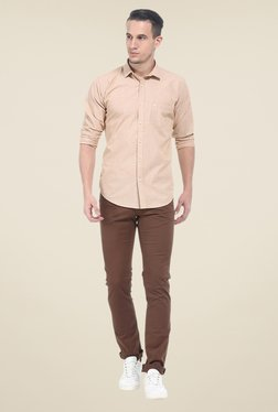 Basics Brown Solid Elastane Skinny Fit Chinos - Mp000000000526788