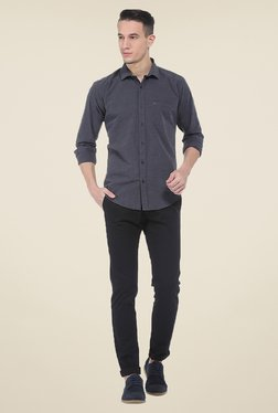 Basics Black Solid Elastane Tapered Fit Chinos - Mp000000000527621
