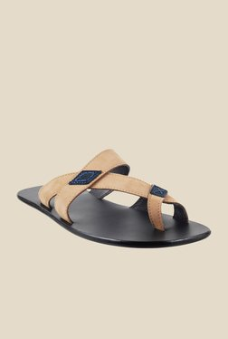 J. Fontini by Mochi Beige & Navy Casual Sandals