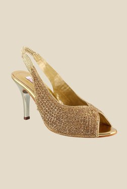 Haute Diva by Mochi Antique Gold Sling Back Stilettos