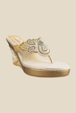 Haute Diva by Mochi Golden Wedge Heeled Thong Sandals