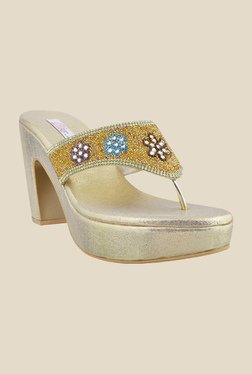 Haute Diva by Mochi Golden Thong Sandals
