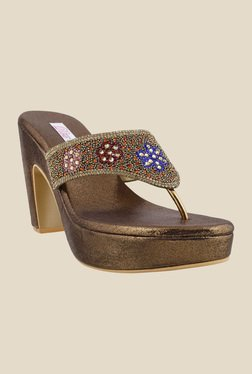 Haute Diva by Mochi Antique Gold Thong Sandals