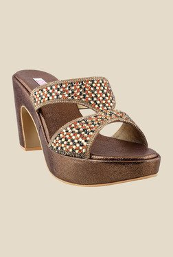 Haute Diva by Mochi Bronze Ethnic Sandals