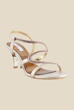 Haute Diva by Mochi Bronze & Gold Sling Back Stilettos