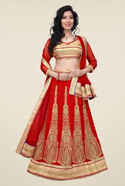 Occeanus Beige & Red Semi Stitched Lehenga Set