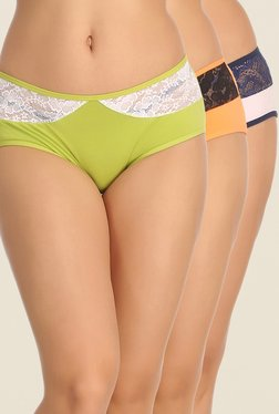 Clovia Green, Orange & Pink Lace Hipster Panty (Pack Of 3)