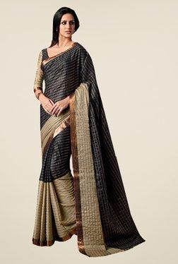 Ishin Black Poly Cotton Striped Saree