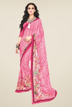 Ishin Pink Faux Georgette Floral Print Saree