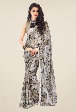 Ishin Grey Faux Georgette Floral Print Saree