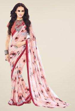Ishin Pink Faux Georgette Floral Print Saree - Mp000000000536990