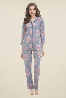 Clovia Blue Floral Print Pyjama Set