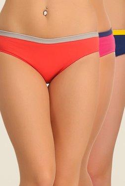 Clovia Coral, Pink & Navy Solid Bikini Panty (Pack Of 3)