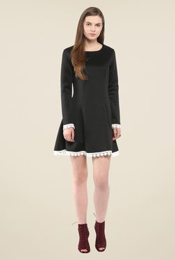 Harpa Black Solid Mini Dress