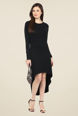 Harpa Black Solid Full Sleeve Round Neck Dress