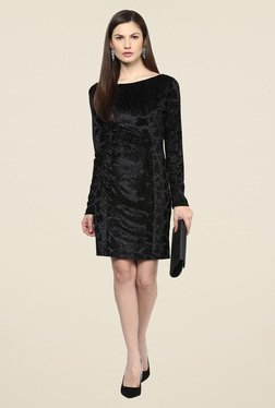 Harpa Black Party Wear Self Print Dress
