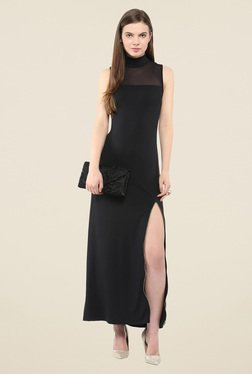 Harpa Black Solid Band Neck Maxi Dress