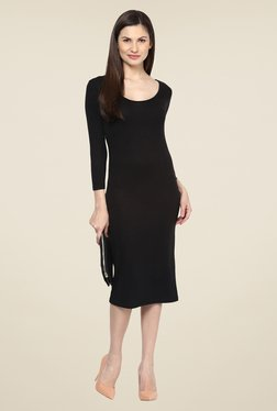 Harpa Black Party Wear Solid Below Knee Dress