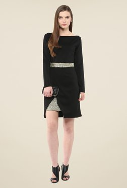Harpa Black Solid Above Knee Full Sleeve Dress