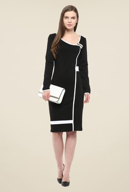 Harpa Black Solid Full Sleeve Dress