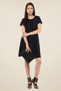 Harpa Black Solid Above Knee Round Neck Dress
