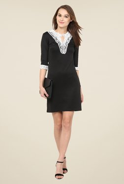 Harpa Black Solid Above Knee Dress