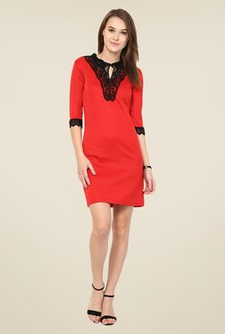 Harpa Red Solid Lace Dress