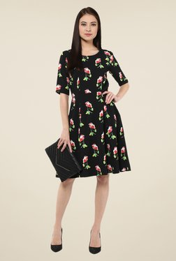 Harpa Black Floral Knee Length Dress