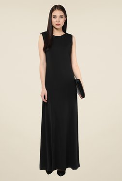 Harpa Black Solid Round Neck Maxi Dress