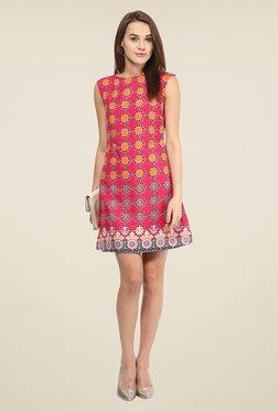 Harpa Pink Printed Sleeveless Dress