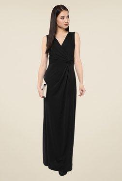 Harpa Black Solid V Neck Maxi Dress