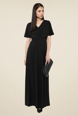 Harpa Black Solid Short Sleeve Maxi Dress