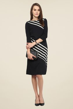 Harpa Black Solid Knee Length Dress