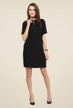 Harpa Black Solid Above Knee Short Sleeve Dress