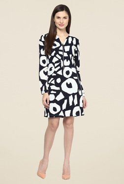 Harpa Navy Floral Print Full Sleeve Dress