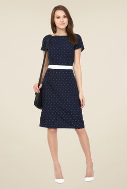 Harpa Navy Polka Dot Knee Length Dress