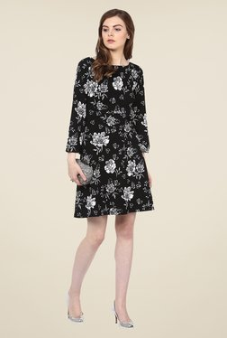 Harpa Black Floral Boat Neck Dress