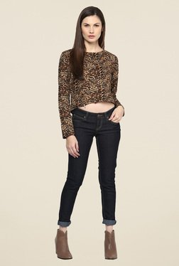 Harpa Brown Animal Print Top