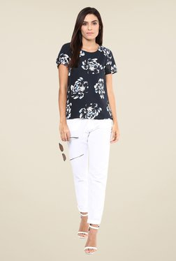 Harpa Navy Floral Print Top - Mp000000000539172