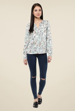 Harpa Sky Blue Floral Print Top - Mp000000000539306