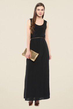 Harpa Black Solid Sleeveless Maxi Dress