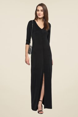 Harpa Black Solid Maxi Dress