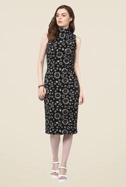 Harpa Black Floral Below Knee Dress