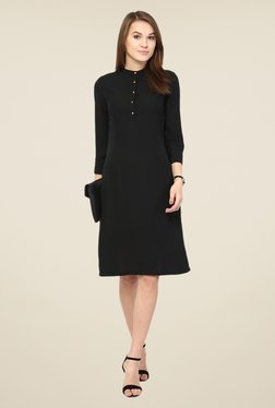 Harpa Black Solid Dress