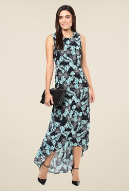 Harpa Black Floral Print Sleeveless Dress