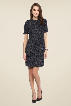 Harpa Black Printed Short Sleeve Dress