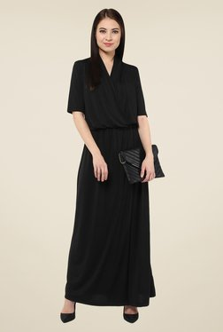 Harpa Black Solid Elbow Sleeve Maxi Dress