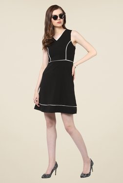 Harpa Black Party Wear Solid Sleeveless Dress
