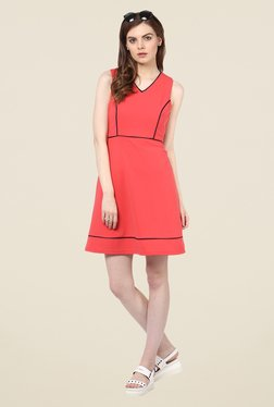Harpa Coral Party Wear Solid Dress