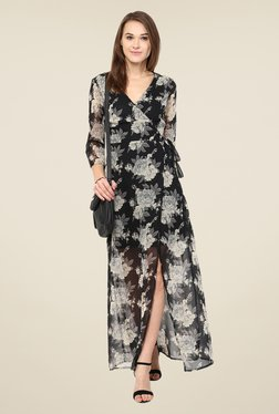 Harpa Black Floral V Neck Maxi Dress